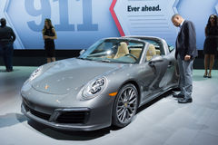Porsche 911 convertible on display. Los Angeles, USA - November 16, 2016: Porsche 911 convertible on display during the Los Angeles Auto Show Royalty Free Stock Images