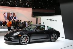 Porsche 911 displayed at the auto show Royalty Free Stock Photo