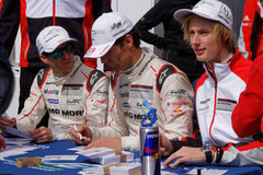 Porsche drivers  sign autographs Royalty Free Stock Image