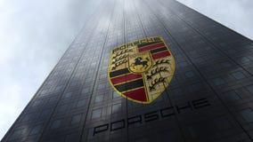 Porsche-embleem op een wolkenkrabbervoorgevel die op wolken wijzen Het redactie 3D teruggeven Stock Foto's