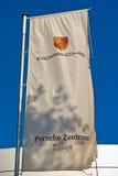 Porsche Flag. Essen, Germany - November 1, 2015: Flag of a car dealer of German automobile manufacturer Porsche AG (owned by Volkswagen AG) in Essen, Germany Stock Images
