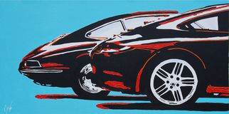 Porsche gammal och ny för sidosikt målning royaltyfri bild