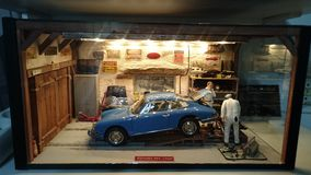 Porsche 901 garage scale diorama Royalty Free Stock Photography