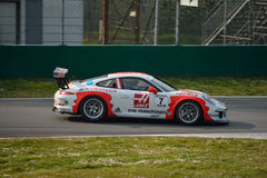 Porsche 911 GT3 Cup at Monza. This Porsche 911 GT3 Cup is driven at Monza in occasion of a Test day organized by Kuno Schaer. Team Fach Auto Tech is developing Royalty Free Stock Photos