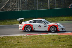 Porsche 911 GT3 Cup at Monza. This Porsche 911 GT3 Cup is driven at Monza in occasion of a Test day organized by Kuno Schaer. Team Fach Auto Tech is developing Royalty Free Stock Images