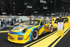 Porsche 997 GT3R display in Thailand International Motor Expo 2013 Royalty Free Stock Photo