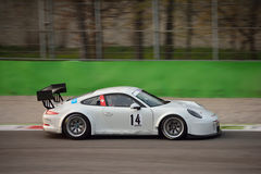 Porsche 911 GT3 R at Monza. This Porsche 911 GT3 R is driven at Monza in occasion of a Test day organized by Kuno Schaer. Team Fach Auto Tech is developing the Stock Photo