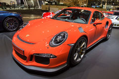 Porsche 911 GT3RS. BRUSSELS - JAN 12, 2016: Porsche 911 GT3RS on display at the Brussels Motor Show Stock Image