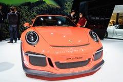 Porsche 911 GT3 RS, exposição automóvel Genebra 2015 Imagens de Stock Royalty Free