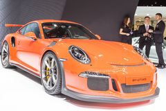 2015 Porsche 911 GT3 RS. Geneva, Switzerland - March 4, 2015: 2015 Porsche 911 GT3 RS presented on the 85th International Geneva Motor Show Royalty Free Stock Photos