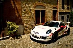 Porsche 911 GT3 RS i Castell ` Arquato Fotografering för Bildbyråer