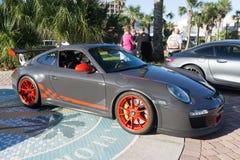Porsche 911 GT3 RS. JACKSONVILLE BEACH, FLORIDA - OCTOBER 18, 2016: A 2010 Porsche 911 GT3 RS at the Jacksonville Beach Classic Car Cruise. Porsche is a German Royalty Free Stock Photos