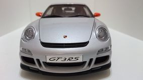 Porsche GT3 RS sportów samochodu srebra pomarańcze obręcze Obrazy Stock