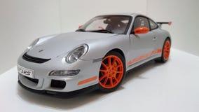 Porsche GT3 RS sportów samochodu srebra pomarańcze obręcze Obraz Royalty Free