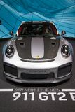 2018 Porsche 911 GT2 RS sports car. FRANKFURT, GERMANY - SEP 12, 2017: 2018 Porsche 911 GT2 RS sports car showcased at the Frankfurt IAA Motor Show 2017 Stock Images