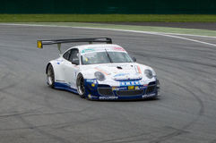 Porsche 911 GT3 RSR. A Porsche 911 GT3 RSR driving throuhg Monza's first chicane. The photo has been taken during the 3 hours ECC race held on the racetrack in Stock Photos