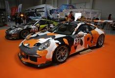 Porsche 911 GT3 som visas på den 3rd upplagan av MOTO-SHOWEN i Cracow Polen Royaltyfria Foton