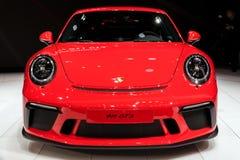 2018 Porsche 911 GT3 sports car. GENEVA, SWITZERLAND - MARCH 7, 2017: New 2018 Porsche 911 GT3 sports car presented at the 87th Geneva International Motor Show Royalty Free Stock Images
