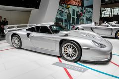 Porsche 911 GT1 sports car. PARIS - OCT 2, 2018: Porsche 911 GT1 sports car showcased at the Paris Motor Show stock photography