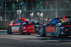 Porsche GT3 tävlings- bilar Arkivfoto