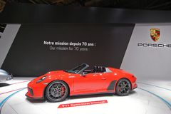 Paris Motor Show 2018 - Porsche 911 Speedster Concept. Porsche has finally confirmed that the 911 Speedster will enter production, but those eyeing it will have stock photo