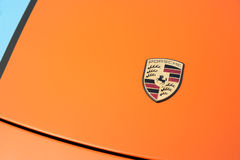 Porsche hood badge Stock Photos