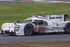 Porsche 919 hybrid Racing. Car Number 20 powers on to 3rd place on debut at the 6 hours of Silverstone 2014 stock photo