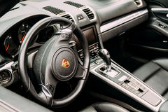 Porsche Luxury Sports Car Interior. BUCHAREST, ROMANIA - MAY 04, 2017: Founded in 1931 Porsche is a German automobile manufacturer specializing in high Stock Photos