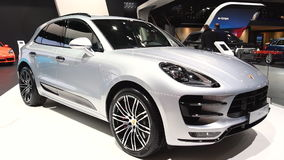 Porsche Macan compact crossover luxury SUV. On display during the 2017 European Motor Show Brussels stock video footage