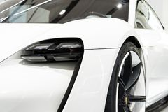 Porsche Mission E concept study car standing at Volkswagen Group forum Drive. BERLIN, GERMANY - MAY 15 2018: Porsche Mission E concept study car standing at stock photography