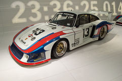 Porsche 935 Moby Dick. 2 Le Mans racers exposed in the Porsche Museum (Stuttgart, Germany). In front the 935 Moby Dick that won the Gr5 class in 1978 and in Stock Images