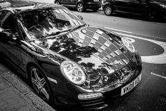 Porsche negra Imagenes de archivo