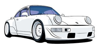 Porsche 911 old Turbo. In vector Royalty Free Stock Photography
