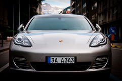 Porsche Panamera. A powerful sports car front shot Stock Images