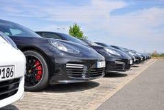 Porsche Panamera bilar Fotografering för Bildbyråer