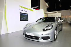 Porsche Panamera S e-hybrid car on display Stock Photos