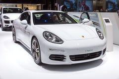 Porsche Panamera S e-hybrid car. GENEVA, SWITZERLAND - MARCH 4, 2015: Porsche Panamera S e-hybrid car at the 85th International Geneva Motor Show in Palexpo Stock Image