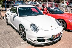 Porsche Panamera Sport Turismo at an exhibition of old cars in the Karmiel city Royalty Free Stock Image