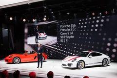 Porsche 911 R. GENEVA, SWITZERLAND - MARCH 1: Geneva Motor Show on March 1, 2016 in Geneva, Porsche 911 R and 718 Boxster premiere and executive speech Stock Photos