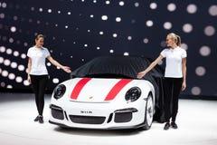 Porsche 911 R. GENEVA, SWITZERLAND - MARCH 1: Geneva Motor Show on March 1, 2016 in Geneva, Porsche 911 R, premiere while cover goes off Stock Images