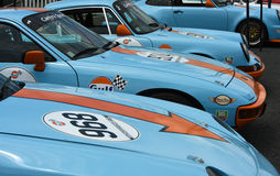 Porsche racing cars in Gulf livery Royalty Free Stock Photography