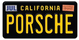 Porsche rocznika tablica rejestracyjna Retro ilustracja wektor