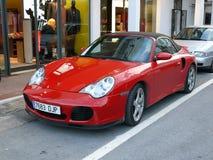 Porsche rojo convertible 911 Turbo Fotografía de archivo
