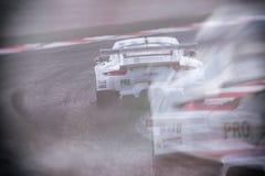Porsche 911 RSR. Porsche RSR at Silverstone shot using double exposure stock image