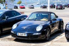 Porsche 911. SAINT-TROPEZ, FRANCE - AUGUST 3, 2014: Motor car Porsche 911 (997) in the city street Stock Image