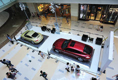 Porsche show in shopping mall. Porsche cars show interior of the mix city shopping mall ,shenzhen,china Royalty Free Stock Photography