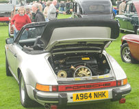 Porsche showing rear engine. Royalty Free Stock Images