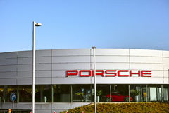 Porsche Showroom. Essen, Germany - November 1, 2015: Car dealer of German automobile manufacturer Porsche AG (owned by Volkswagen AG) in Essen, Germany Royalty Free Stock Photo