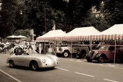 Porsche 356 Speedster at Bergamo Historic Grand Prix 2015. A silver Porsche 356 Speedster  turning before the tents of the paddock of Colle Aperto in Citta' Alta Stock Photos