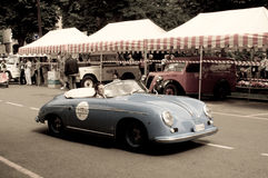 Porsche 356 Speedster at Bergamo Historic Grand Prix 2015. A silver Porsche 356 Speedster  turning before the tents of the paddock of Colle Aperto in Citta' Alta Stock Photo